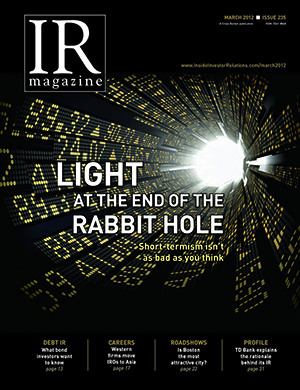 IR Magazine March 2012: Light at the end of the rabbit hole