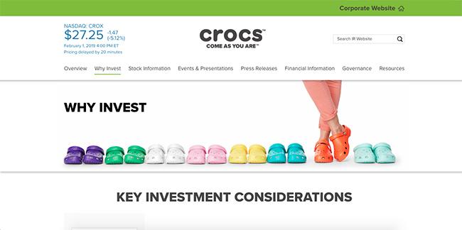 The Crocs IR website