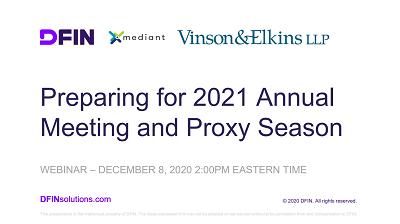 Preparing for 2021 annual meeting & proxy season