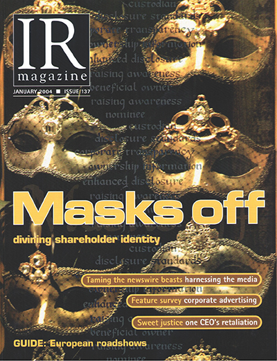 IR Magazine cover, January 2004, Masks Off