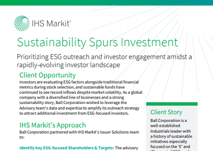 Sustainability spurs investment: Public company case study