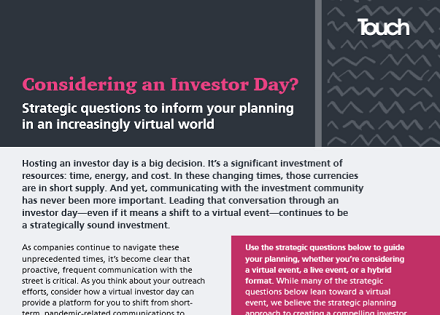 Considering an investor day?