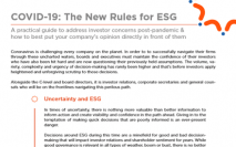 COVID-19: The New Rules for ESG